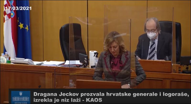 Zastupnice u Hrvatskom Saboru Dragana Jeckov pitanje svih pitanja je TKO JE BIO AGRESOR NA HRVATSKU?