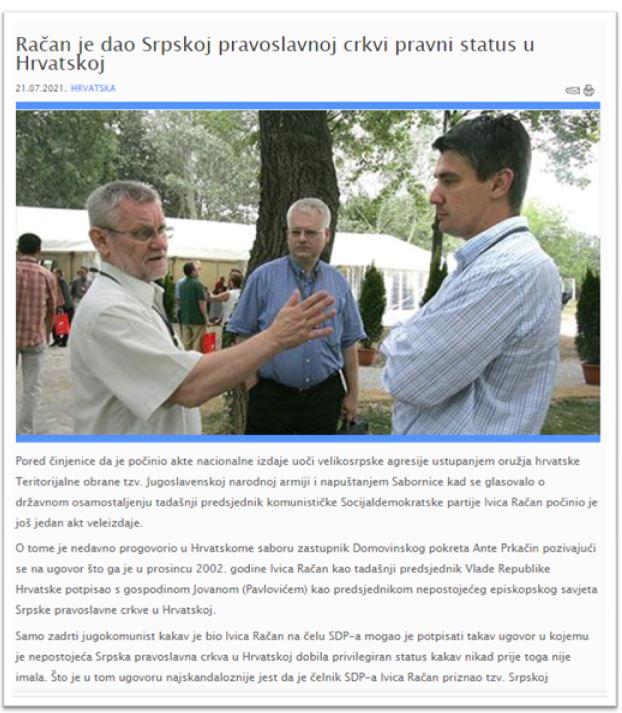 Račan je dao Srpskoj pravoslavnoj crkvi pravni status u Hrvatskoj